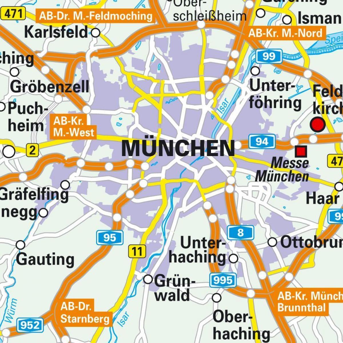 Muenchen Kartta Munchenin Keskustan Kartta Baijeri Saksa